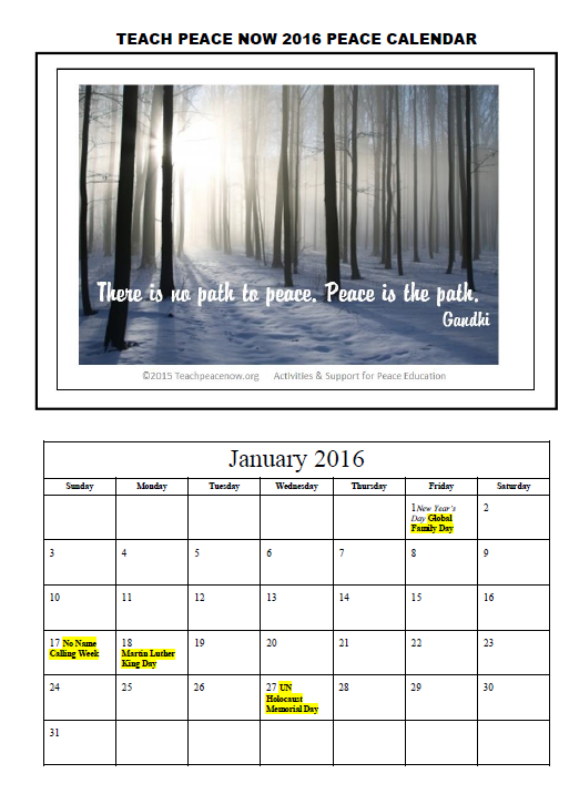 2016 Teach peace Now Free Peace Calendar