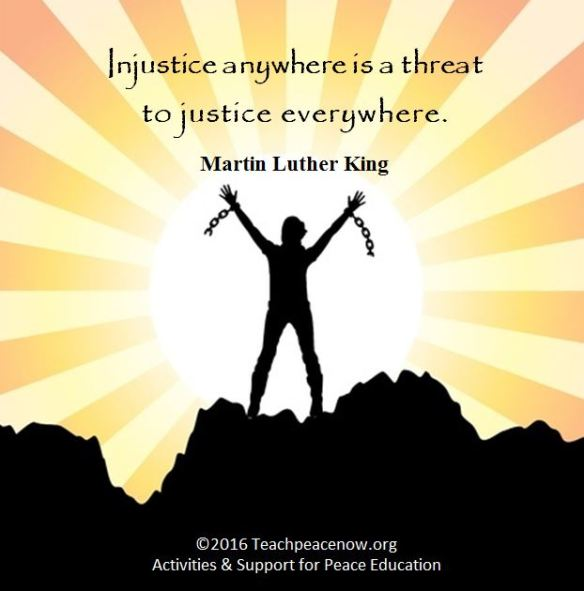 MLK Quote on pic of broken chains www.teachpeacenow.org